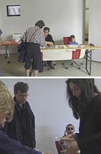 "Luchezar Boyadjiev Deep Europe Visa Department August 2, 1997 Hybrid Workspace, documenta X. Performance by members of the Syndicate (V2_East) within the ""Deep Europe"" Workshop, 1997, at Hybrid Workspace, documenta X, Kassel, Germany"