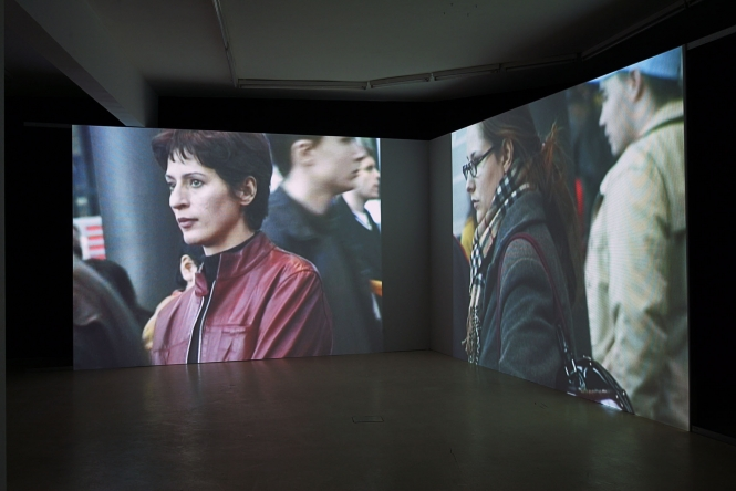 Kalin Serapionov Two-channel video installation, DVD, sound, 18'16'' (looped). Installation view, ATA Center/Institute of Contemporary Art – Sofia, 2004