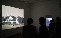 "Kalin Serapionov 1719D 2006-2007 Two-channels video installation, DVD, color, NTSC, no sound, 35 min (looped). Installation views in the ""Heterotopias"", 1st Thessaloniki Biennale of Contemporary Art, Thessaloniki, Greece, 2007"