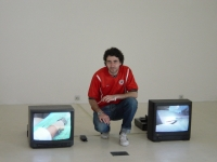 Rassim with his work Corrections 2, 2003