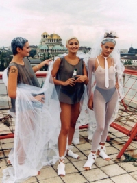 Mariela Gemisheva My Wedding Dresses on the Roof Fashion performance on the roof of 6 Shipka Str Gallery, Sofia, September 1998