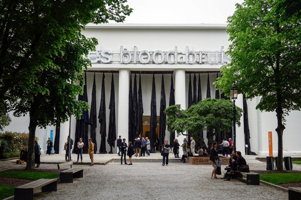 Giardini – Central Pavilion entrance with works by Oscar Murillo and Glenn Ligon